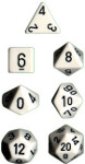 Polyhedral 7-Die Set: Opaque - White/black