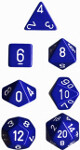 Polyhedral 7-Die Set: Opaque - Blue/white