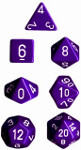 Polyhedral 7-Die Set: Opaque - Purple/white