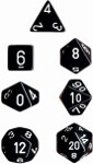 Polyhedral 7-Die Set: Opaque - Black/white