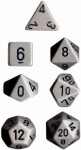 Polyhedral 7-Die Set: Opaque - Grey/black