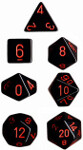 Polyhedral 7-Die Set: Opaque - Black/red