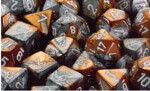 D6 with Pips: 12mm Gemini (36 Dice) - Copper-Steel/white