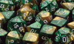 D6 with Pips: 12mm Gemini (36 Dice) - Gold-Green/white