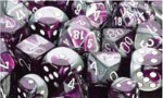 D6 with Pips: 12mm Gemini (36 Dice) - Purple-Steel/white