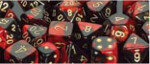 D6 with Pips: 12mm Gemini (36 Dice) - Black-Red/gold