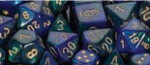 D6 with Pips: 12mm Gemini (36 Dice) - Blue-Green w/gold