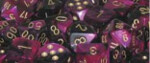 D6 with Pips: 12mm Gemini (36 Dice) - Black-Purple w/gold