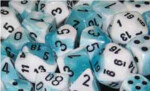 D6 with Pips: 12mm Gemini (36 Dice) - White-Teal w/black