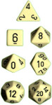 Polyhedral 7-Die Set: Opaque - Ivory/black