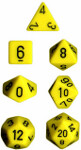 Polyhedral 7-Die Set: Opaque - Yellow/black