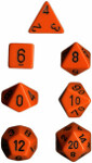 Polyhedral 7-Die Set: Opaque - Orange/black
