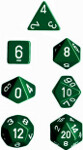 Polyhedral 7-Die Set: Opaque - Green/white
