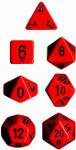 Polyhedral 7-Die Set: Opaque - Red/black