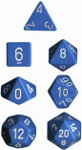 Polyhedral 7-Die Set: Opaque - Light Blue/white