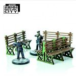 Green Iron Frame Benches