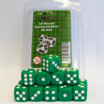 Blackfire Dice - 16mm D6 Dice Set - Green (15 Dice)