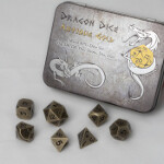 Blackfire Dice - Metal Dice Set - Antique Gold (7 Dice)