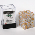 Blackfire Dice Cube - 12mm D6 36 Dice Set - Marbled White Gold