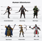 Human Adventurers Party of 6 - Set A (Pre-painted)